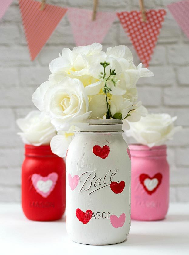 Dollar Store Crafts - DIY Thumbprint Heart Mason Jar Tutorial - How to Make A Valentines Day Mason Jar - Easy DIY Dollar Tree Crafts - Cheap DIY Projects for Teenagers, Room, Decor, and Gifts - Dollar Tree Crafts to Make and Sell, at Home - Handmade Craft Ideas to Sell with Instructions and Tutorials - Easy Teen Crafts #teencrafts #diyideas #dollarstorecrafts