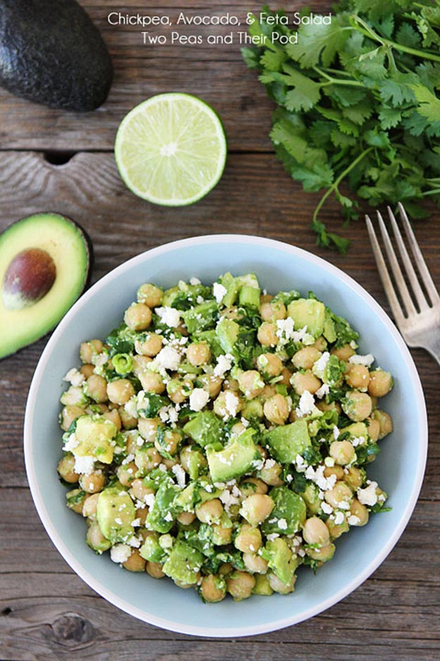 Easy Snacks and Recipes - Chickpea, Avocado, & Feta Salad - Quick Recipe Ideas and Simple Foood to Make In Minutes - Microwave, 3 Ingredients and No Bake Snack Tutorials - Healthy Ways for Snacking After School - Desserts, Sweet, Salty and Crunchy Ideas to Satisfy Your Cravings - Cheese, Vegetable, Mexican Food - Fun Ideas for Teens To Make At Home http://teencrafts.com/esy-snacks-recipes