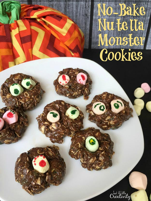 Cool and Easy Dessert Recipes For Teens to Make at Home - No-Bake Nutella Monster Cookies - Fun Desserts to Make With Chocolate, Fruit, Whipped Cream, Low Sugar, and Banana - Cake, Cookies, Pie, Ice Cream Shakes and Pops Made With Healthy Ingredients and Food You Love - Quick Recipe Ideas for No Bake and 5 Minute Dessert At Home #teencrafts #easyrecipes #dessertideas