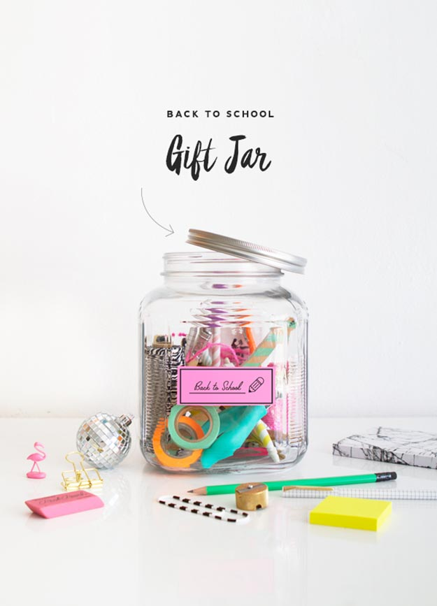 Jar Gift Ideas - DIY Back to School Gift Jar - Food, Cookie, Birthday Gifts in A Jar Ideas - Easy and Quick Last Minute Gift Ideas for Hostess - Simple Gift ideas to Make for A Teenager - Gifts in A Jar Recipes - Easy Teen Crafts - Mason Jar Gifts For Friends