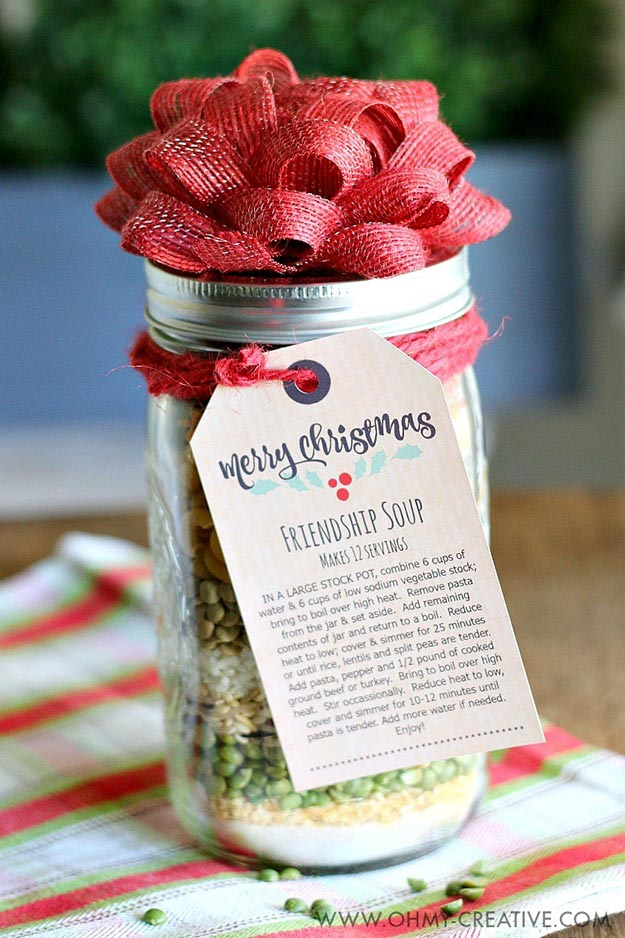 Gifts in A Jar Ideas, Recipes - Friendship Soup In a Jar - Inexpensive Gifts You Can Make For Friends and Neighbors - Gift Jars for Christmas, Teachers - Cute Gift Ideas in Mason Jars - What to Put in Jar as A Gift - Cheap and Easy Gifts