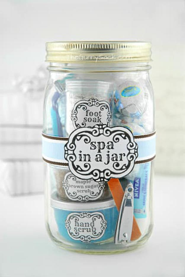 DIY Gifts for Teens and Adults - How to Make a Spa In a Jar - Creative Gifts in a Jar - Mason Jar Gifts for Friends, Boyfriend, Bestfriend, Brother, Dad - DIY Gift Ideas - Handmade Gift Ideas - Step by Step Craft Tutorials