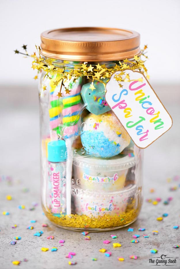 Gifts in A Jar Ideas, Recipes - DIY Unicorn Spa Jar - Inexpensive Gifts You Can Make For Friends and Neighbors - Gift Jars for Christmas, Teachers - Cute Gift Ideas in Mason Jars - What to Put in Jar as A Gift - Cheap and Easy Gifts