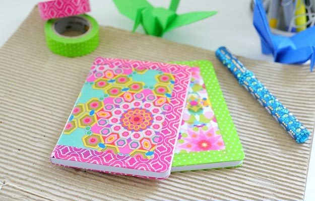 Washi Tape Crafts - DIY Washi Tape Notebook Tutorial - How to Decorate A Notebook With Washi Tape - Simple, Easy DIY Ideas To Make With Washi Tape - Organizers, Cute Gifts, Cheap Wall Art, Fun and Quick Things To Make For Friends - Cute Ideas for Teens, Adults, Kids and Tweens to Make at Home #teencrafts #diyideas #washitapecrafts