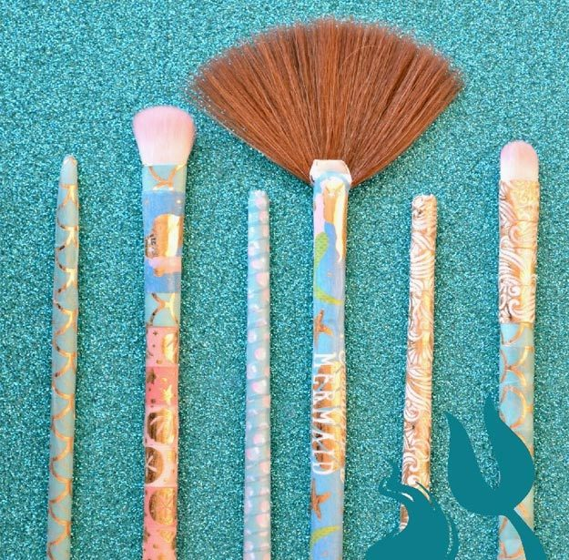Washi Tape Crafts - DIY Mermaid Makeup Brush Tutorial - How to Make a Mermaid Makeup Brush - Simple, Easy DIY Ideas To Make With Washi Tape - Organizers, Cute Gifts, Cheap Wall Art, Fun and Quick Things To Make For Friends - Cute Ideas for Teens, Adults, Kids and Tweens to Make at Home #teencrafts #diyideas #washitapecrafts