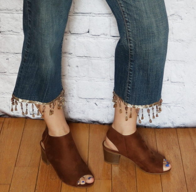 DIY Boho Fashion Ideas - DIY Boho Beaded Fringe Jeans Tutorial - How to Make Beaded Fringe Jeans - How to Make Your Own Boho Clothes, Sandals, Bag, Jewelry At Home - Boho Fashion Style - Cute and Easy DIY Boho Clothing, Clothes, Fashion - Homemade Bohemian Clothing #teencrafts #diyideas #diybohofashion #diybohoclothes