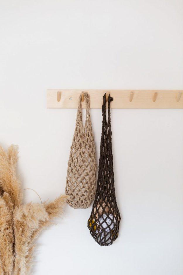 DIY Boho Fashion Ideas - DIY Crochet Net Bag Tutorial - How to Make a Boho Bag - How to Make Your Own Boho Clothes, Sandals, Jewelry At Home - Boho Fashion Style - Cute DIY Boho Clothing, Clothes, Fashion - Homemade Bohemian Clothing #teencrafts #diyideas #diybohofashion #diybohoclothes