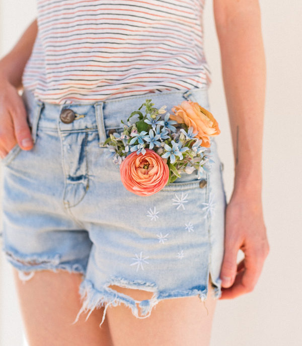 DIY Boho Fashion Ideas - DIY Embroidered Jean Shorts Tutorial - How to Make Your Own Boho Clothes, Sandals, Jewelry At Home - Boho Fashion Style - Cute DIY Boho Clothing, Clothes, Fashion - Homemade Bohemian Clothing #teencrafts #diyideas #diybohofashion #diybohoclothes