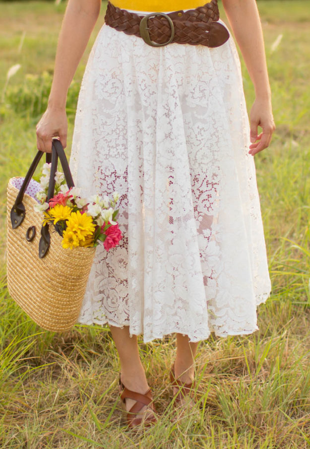 DIY Boho Fashion Ideas - DIY Sustainable Tablecloth Skirt Tutorial - How to Make a Boho Skirt - How to Make Your Own Boho Clothes, Sandals, Jewelry At Home - Boho Fashion Style - Cute DIY Boho Clothing, Clothes, Fashion - Homemade Bohemian Clothing #teencrafts #diyideas #diybohofashion #diybohoclothes