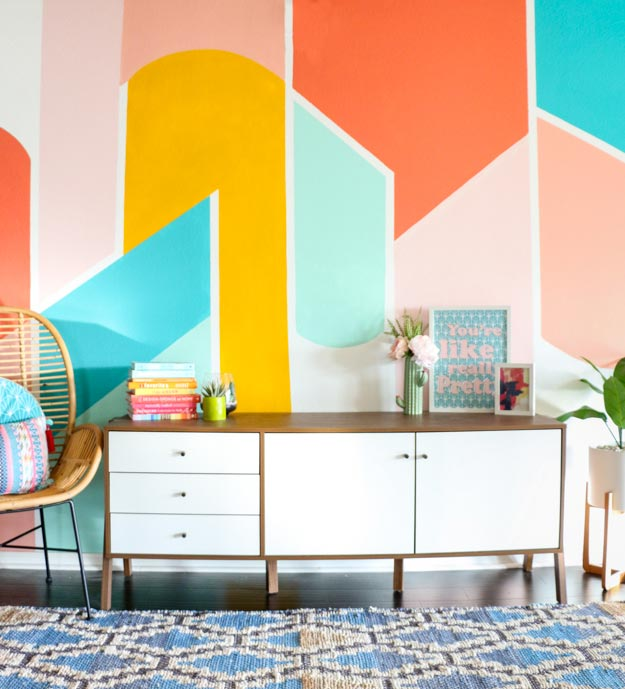 Painting Ideas for Room - DIY Painted Geometric Wall Tutorial - Easy Painting Ideas for Walls - Ways to Paint Walls - Wall Paint Inspiration - Teen Room Decor Ideas #teencrafts #paintwalls #diyideas