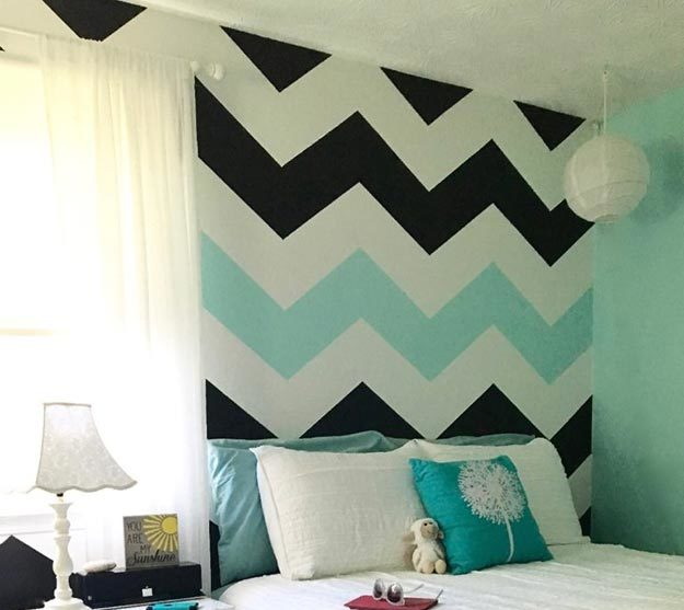 Painting Ideas for Room - How to Paint A Chevron Stripe Wall - How to Paint Chevron Stripes - Easy Painting Ideas for Walls - Ways to Paint Walls - Wall Paint Inspiration - Teen Room Decor Ideas #teencrafts #paintwalls #diyideas
