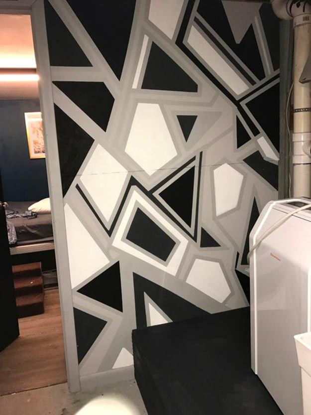 Painting Ideas for Room - How to Paint A Geometric Wall - DIY Geometric Wall Paint - Easy Painting Ideas for Walls - Ways to Paint Walls - Wall Paint Inspiration - Teen Room Decor Ideas #teencrafts #paintwalls #diyideas