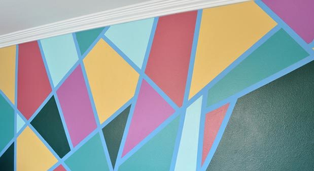 Painting Ideas for Room - DIY Modern Art Wall Design - How to Paint A Geometric Shape Wall - Easy Painting Ideas for Walls - Ways to Paint Walls - Wall Paint Inspiration - Painters Tape Geometric Wall - Teen Room Decor Ideas #teencrafts #paintwalls #diyideas