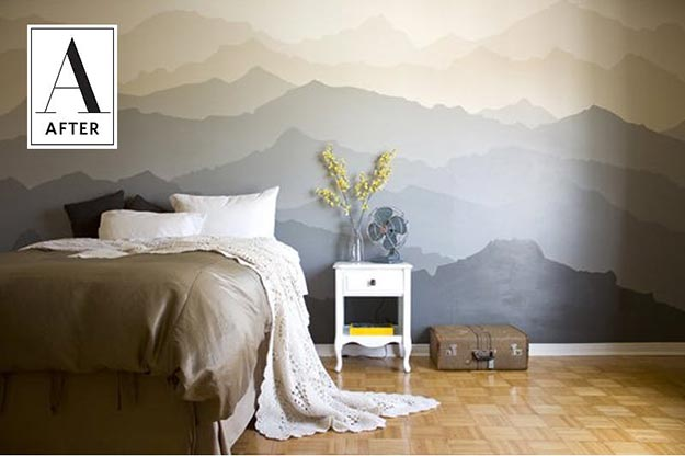 Painting Ideas for Room - DIY Mountain Mural Wall Tutorial - Easy Painting Ideas for Walls - Ways to Paint Walls - Wall Paint Inspiration - Teen Room Decor Ideas #teencrafts #paintwalls #diyideas