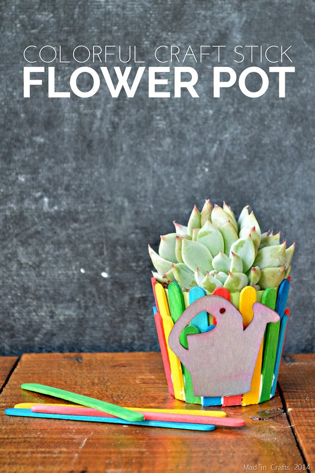 DIY Craft Ideas With Popsicle Sticks - Popsicle Stick Craft Ideas - DIY Popsicle Stick Flower Pot Tutorial - How to Make a Planter with Popsicle Sticks - What to Make With Popsicle Sticks - Cheap DIY Craft Ideas to Make at Home - Popsicle Stick Craft Ideas and Inspiration #howtomakepopsiclestickcrafts #diycraftideas #dollarstorecrafts