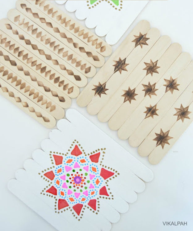 Creative DIY Crafts for Kids to Make at Home - Popsicle Stick Crafts Step by Step - How to Make Popsicle Stick Coasters - Cheap Craft Ideas for Boys, Girls, Teens - How to Make Popsicle Stick Crafts - Popsicle Stick Art - Easy Summertime Crafts #kidcrafts #diyprojects #popsiclestickcraftideas