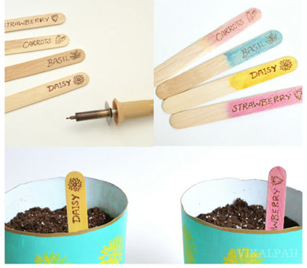 Popsicle Sticks DIY Crafts - DIY Popsicle Stick Garden Markers Tutorial - How to Make Garden Markers With Popsicle Sticks - Craft Ideas With Popsicle Sticks for Adults - Handmade Craft Ideas to Sell with Instructions and Tutorials - Easy Teen Crafts - DIY Projects for Kids, Teenagers, Adults #craftsforadults #diyprojectstomakeandsell #quickcraftideas #easydiycrafts