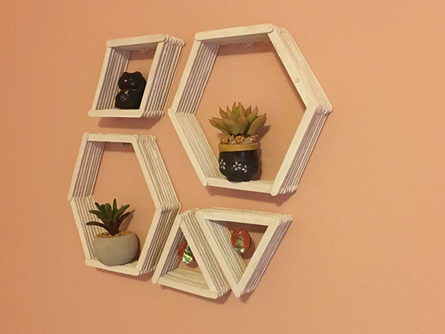 Popsicle Stick Crafts for Adults Step by Step - How to Make Popsicle Stick Shelves - DIY Popsicle Stick Geometric Shelf Tutorial - Popsicle Stick Crafts for Kids, Adults, Teens, Kindergarteners - Cool, Useful Popsicle Stick Crafts - Cheap DIY Craft Ideas to Make and Sell - Dollar Store Craft Ideas - DIY Projects for Teens #teencraftideas #cheapcraftideas #diy