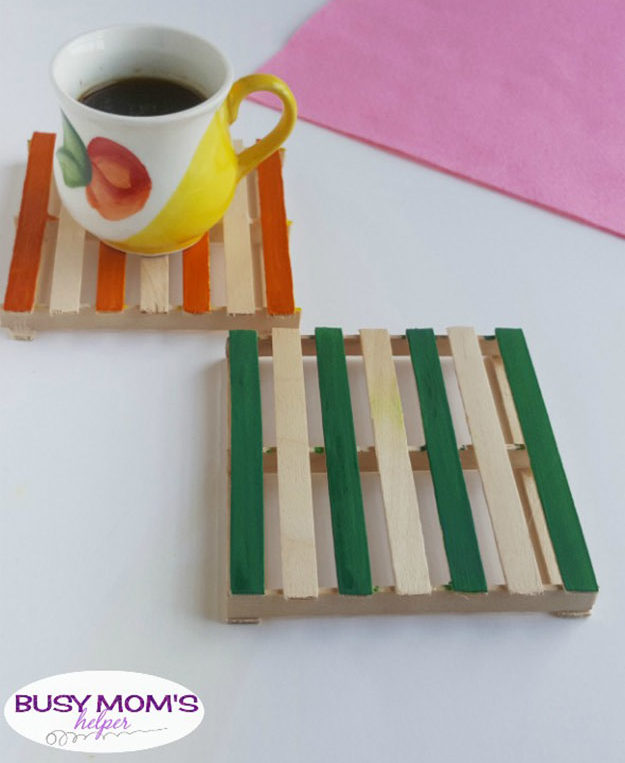 Popsicle Sticks DIY Crafts - DIY Popsicle Stick Coasters Tutorial - How to Make Coasters With Popsicle Sticks, Popsicle Stick Coasters - Craft Ideas With Popsicle Sticks for Adults - Handmade Craft Ideas to Sell with Instructions and Tutorials - Easy Teen Crafts - DIY Projects for Kids, Teenagers, Adults #craftsforadults #diyprojectstomakeandsell #quickcraftideas #easydiycrafts