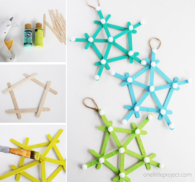DIY Ideas With Popsicle Sticks - Popsicle Stick Crafts - DIY Popsicle Stick Snowflakes Tutorial - Ideas to Make With Cheap Craft Supplies - Easy and Cheap DIY Crafts for Kids to Make at Home - How to Make Crafts With Popsicle Sticks #teencrafts #diyideas #popsiclestickcrafts