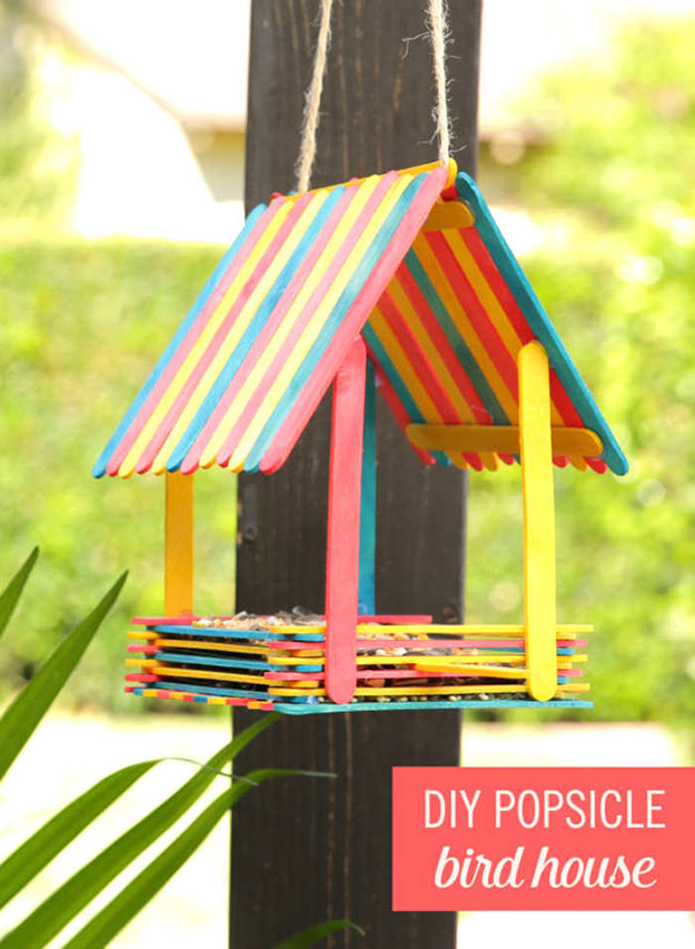Creative DIY Crafts for Kids to Make at Home - Popsicle Stick Crafts Step by Step - How to Make a Popsicle Stick Bird Feeder - Cheap Craft Ideas for Boys, Girls, Teens - How to Make Popsicle Stick Crafts - Popsicle Stick Art - Easy Summertime Crafts #kidcrafts #diyprojects #popsiclestickcraftideas