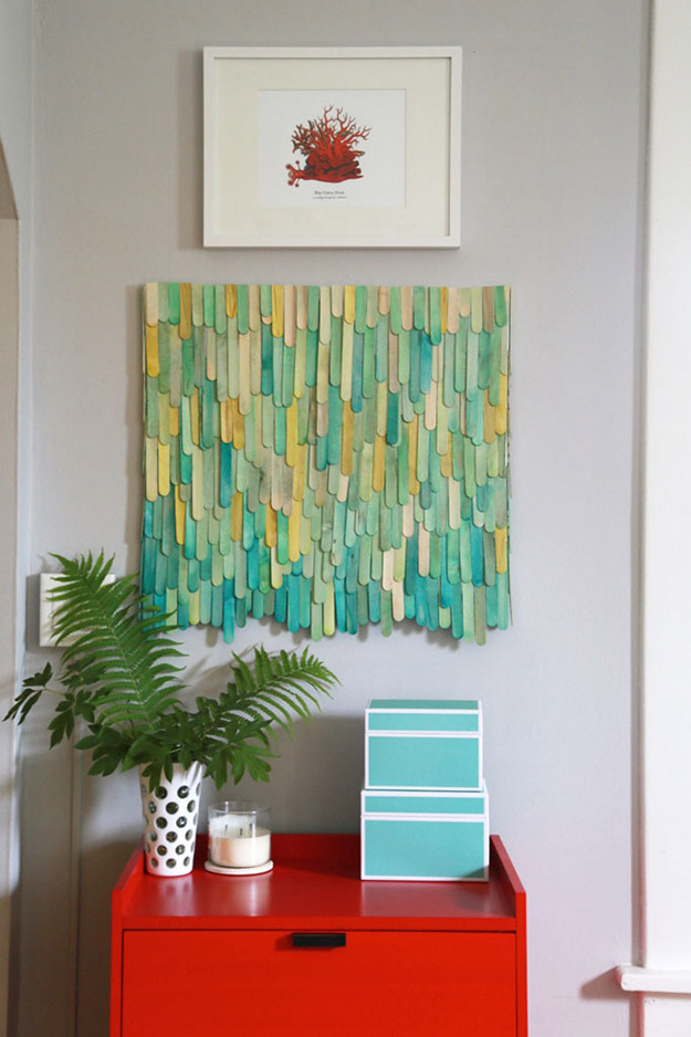 Popsicle Sticks DIY Crafts - DIY Popsicle Stick Wall Art Tutorial - How to Make Wall Art From Popsicle Sticks - Craft Ideas With Popsicle Sticks for Adults - Handmade Craft Ideas to Sell with Instructions and Tutorials - Easy Teen Crafts - DIY Projects for Kids, Teenagers, Adults #craftsforadults #diyprojectstomakeandsell #quickcraftideas #easydiycrafts