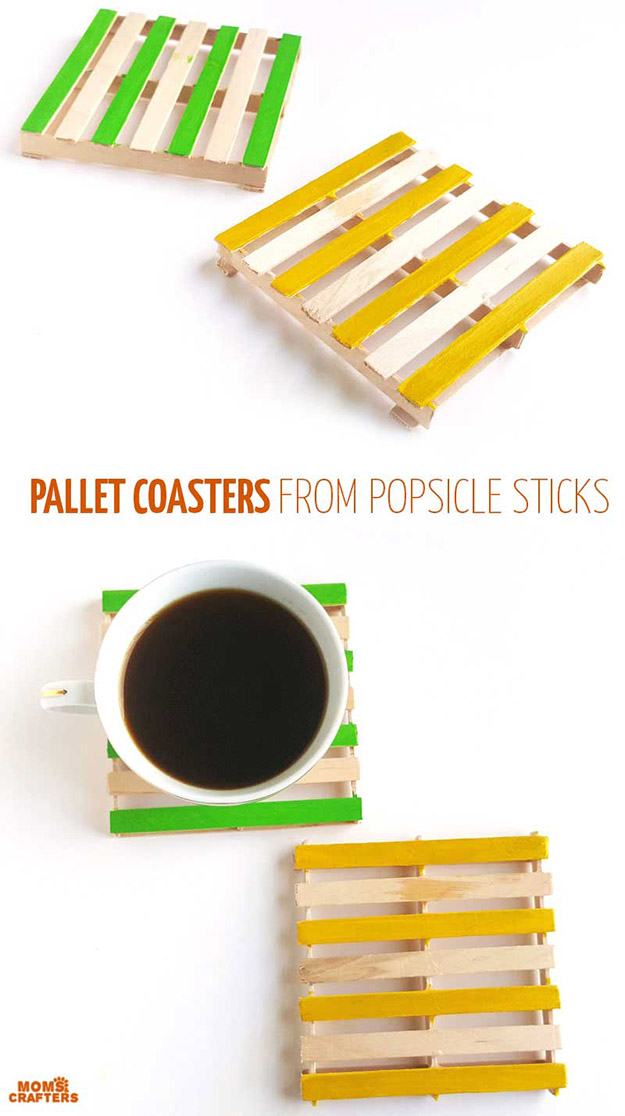 DIY Craft Ideas With Popsicle Sticks - Popsicle Stick Craft Ideas - DIY Popsicle Stick Coasters Tutorial - How to Make Coasters from Popsicle Sticks - What to Make With Popsicle Sticks - Cheap DIY Craft Ideas to Make at Home - Popsicle Stick Craft Ideas and Inspiration #howtomakepopsiclestickcrafts #diycraftideas #dollarstorecrafts