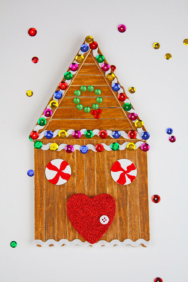 DIY Craft Ideas With Popsicle Sticks - Popsicle Stick Craft Ideas - DIY Popsicle Stick Gingerbread House Tutorial - How to Make A Popsicle Stick Gingerbread House - What to Make With Popsicle Sticks - Cheap DIY Craft Ideas to Make at Home - Popsicle Stick Craft Ideas and Inspiration #howtomakepopsiclestickcrafts #diycraftideas #dollarstorecrafts