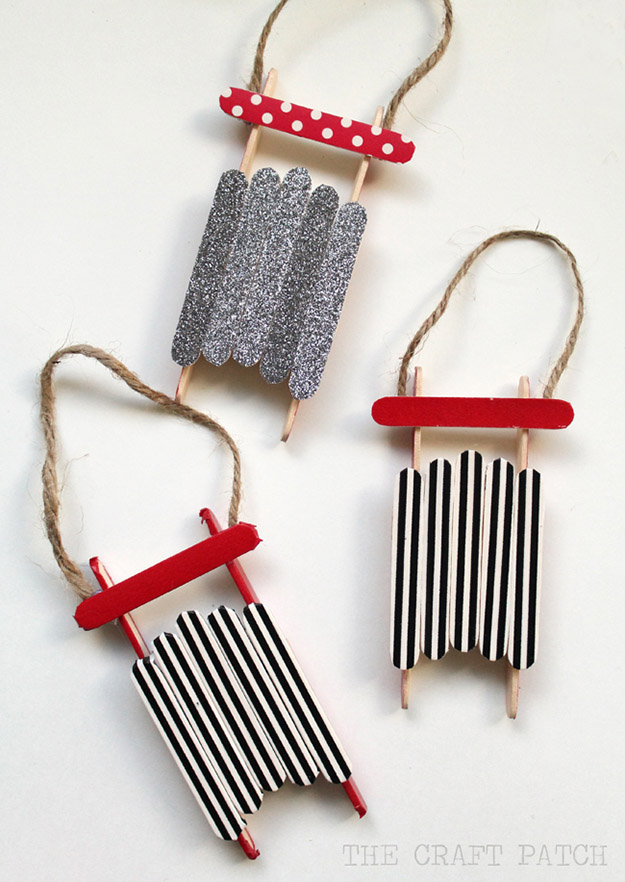 Popsicle Stick Crafts for Adults Step by Step - DIY Popsicle Stick Sled Ornaments Tutorial - Popsicle Stick Crafts for Kids, Adults, Teens, Kindergarteners - Cool, Useful Popsicle Stick Crafts - Cheap DIY Craft Ideas to Make and Sell - Dollar Store Craft Ideas - DIY Projects for Teens #teencraftideas #cheapcraftideas #diy