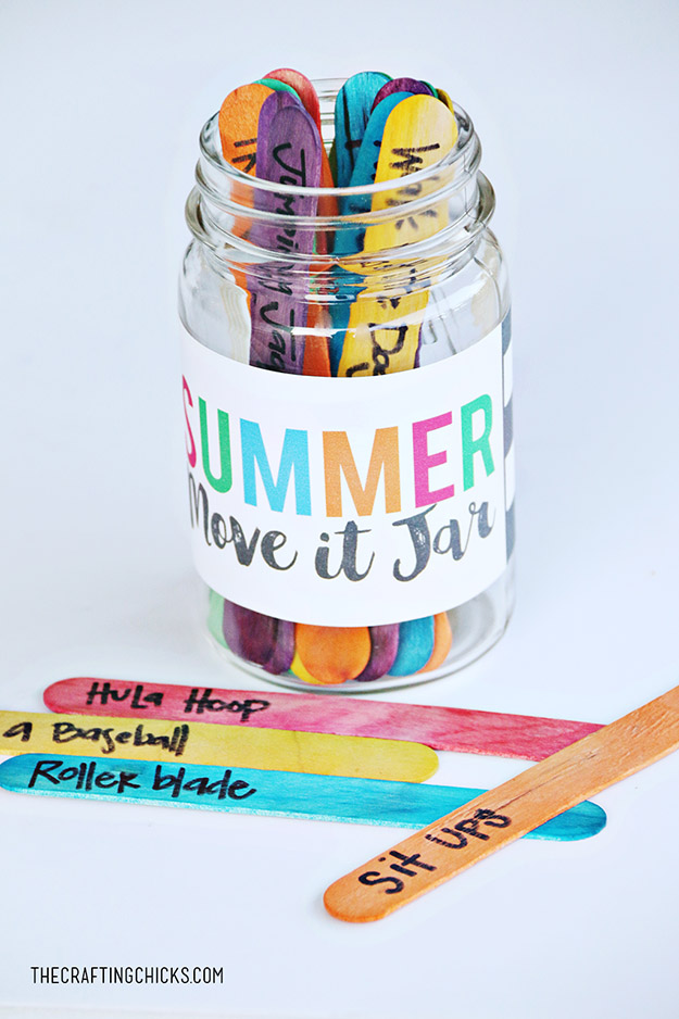DIY Ideas With Popsicle Sticks - Popsicle Stick Crafts - DIY Summer Move It Jar Tutorial - Ideas to Make With Cheap Craft Supplies - Easy and Cheap DIY Crafts for Kids to Make at Home - How to Make Crafts With Popsicle Sticks #teencrafts #diyideas #popsiclestickcrafts
