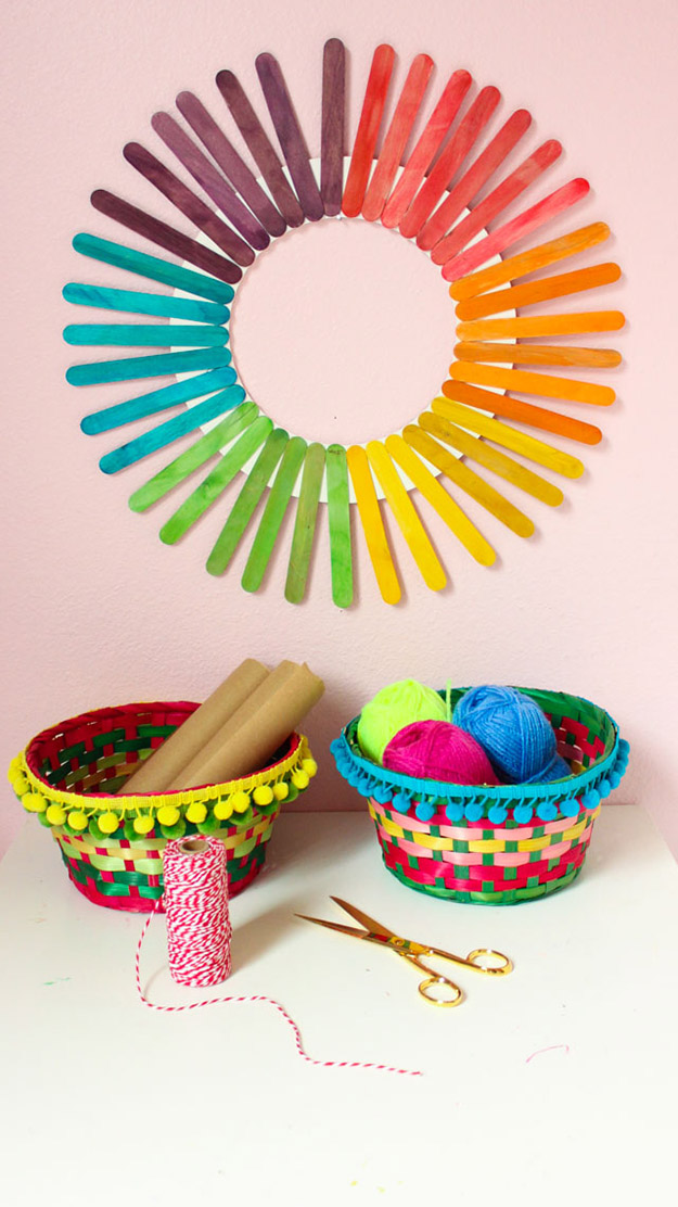 Creative DIY Crafts for Kids to Make at Home - Popsicle Stick Crafts Step by Step - How to Make A Popsicle Stick Wreath - DIY Popsicle Stick Wreath Tutorial - Cheap Craft Ideas for Boys, Girls, Teens - How to Make Popsicle Stick Crafts - Popsicle Stick Art - Easy Summertime Crafts #kidcrafts #diyprojects #popsiclestickcraftideas
