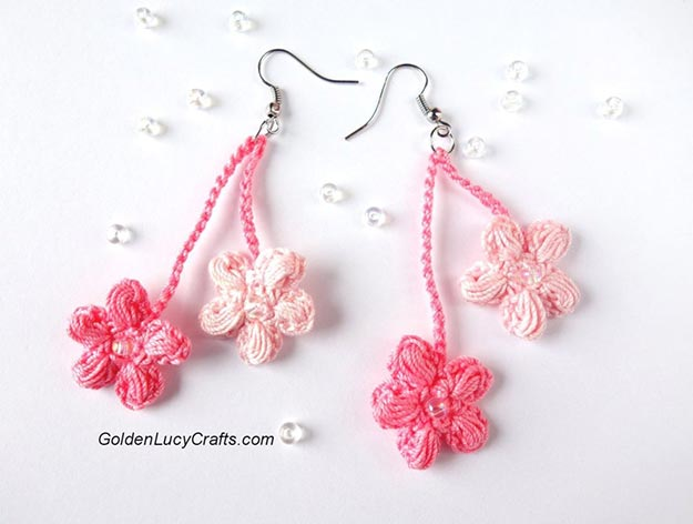 DIY Jewelry Ideas - DIY Cherry Blossom Crochet Earrings Tutorial - How to Make a Crochet Earrings - How to Make Your Own Jewelry - Jewelry Making Ideas for Beginners - Handmade Craft Ideas to Sell with Step by Step Instructions - Easy Teen Crafts #teencrafts #diyideas #diyjewelry