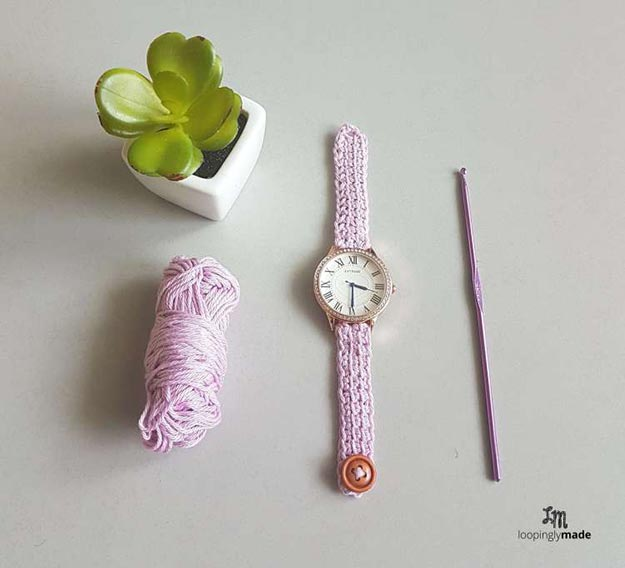 DIY Jewelry Ideas - DIY Crochet Watch Strap Tutorial - How to Crochet a Watch Strap - How to Make Your Own Jewelry - Jewelry Making Ideas for Beginners - Handmade Craft Ideas to Sell with Step by Step Instructions - Easy Teen Crafts #teencrafts #diyideas #diyjewelry