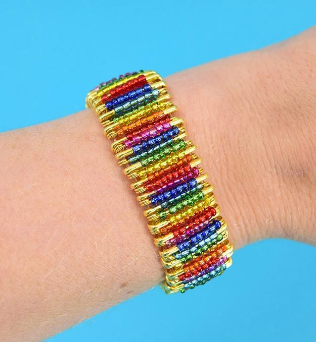 DIY Jewelry Ideas - DIY Rainbow Beaded Safety Pin Bracelet Tutorial - How to Make A Cool Safety Pin Bracelet - How to Make Your Own Jewelry - Jewelry Making Ideas for Beginners - Handmade Craft Ideas to Sell with Step by Step Instructions - Easy Teen Crafts #teencrafts #diyideas #diyjewelry