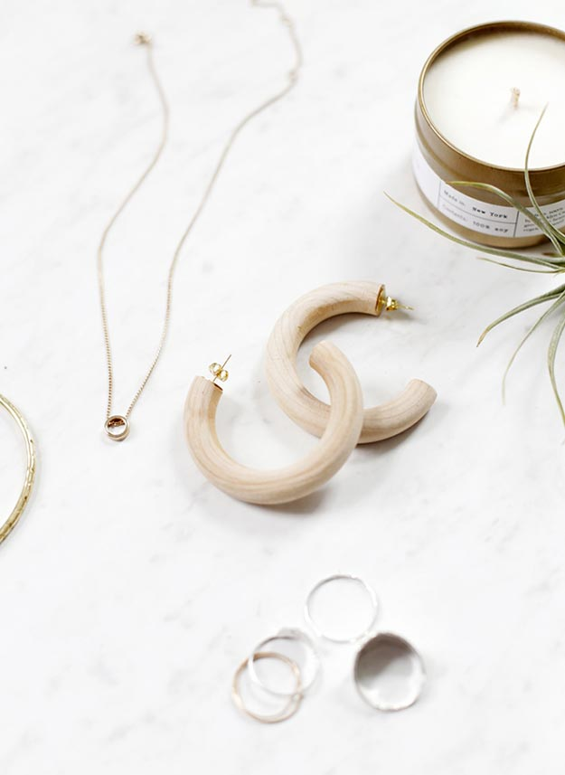 DIY Jewelry Ideas - DIY Wooden Hoop Earrings Tutorial - How to Make Wooden Hoop Earrings - How to Make Your Own Jewelry - Jewelry Making Ideas for Beginners - Handmade Craft Ideas to Sell with Step by Step Instructions  - Easy Teen Crafts #teencrafts #diyideas #diyjewelry