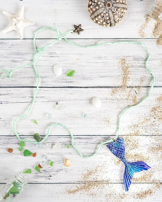 DIY Jewelry Ideas - DIY Mermaid Tail Necklace Tutorial - How to Make A Necklace Out of Hot Glue - How to Make Your Own Jewelry - Jewelry Making Ideas for Beginners - Handmade Craft Ideas to Sell with Step by Step Instructions  - Easy Teen Crafts #teencrafts #diyideas #diyjewelry