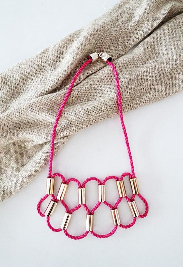 DIY Jewelry Ideas - DIY Rope Statement Necklace Tutorial - How to Make a Statement Necklace - How to Make Your Own Jewelry - Jewelry Making Ideas for Beginners - Handmade Craft Ideas to Sell with Step by Step Instructions - Easy Teen Crafts #teencrafts #diyideas #diyjewelry