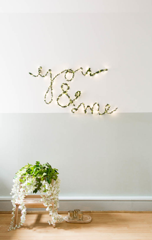 DIY Ideas With String Lights - Cute DIY String Light Signs - DIY Foliage String Light Sign Tutorial - Easy, Fun, Cool Decor To Make With String Lights - Cheap Room Decor Ideas for Teens, Fun Apartment Lighting Projects and Creative Ways to Decorate Your Bedroom - How To Decorate Teens and Teenagers Bedrooms #teencrafts #diyideas #stringlights