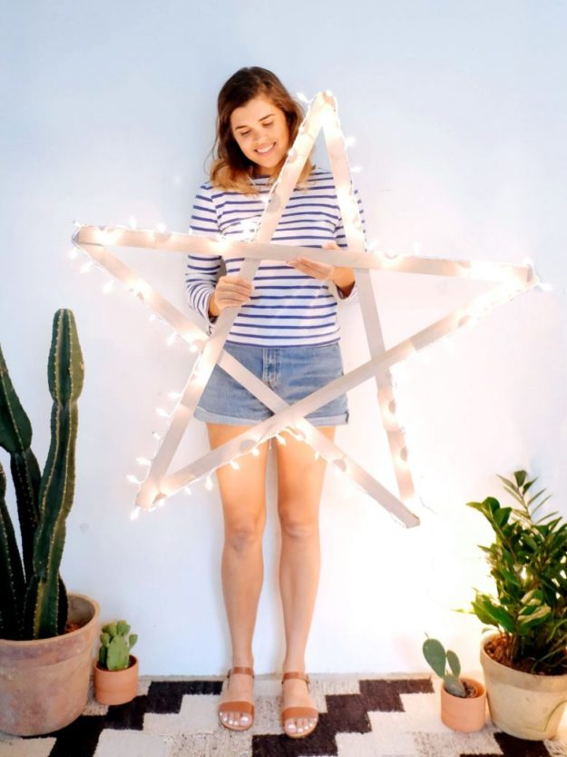 DIY Ideas With String Lights - DIY Giant String Light Wooden Star Tutorial - How to Make a String Light Star - Easy, Fun, Cool Decor To Make With String Lights - Cheap Room Decor Ideas for Teens, Fun Apartment Lighting Projects and Creative Ways to Decorate Your Bedroom - How To Decorate Teens and Teenagers Bedrooms #teencrafts #diyideas #stringlights