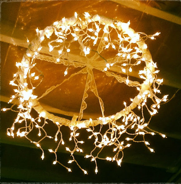 DIY Ideas With String Lights - How to Make a String Light Chandelier - DIY String Light Hula Hoop Chandelier - Fun String Light Ideas - Easy, Fun, Cool Decor To Make With String Lights - Cheap Room Decor Ideas for Teens, Fun Apartment Lighting Projects and Creative Ways to Decorate Your Bedroom - How To Decorate Teens and Teenagers Bedrooms #teencrafts #diyideas #stringlights