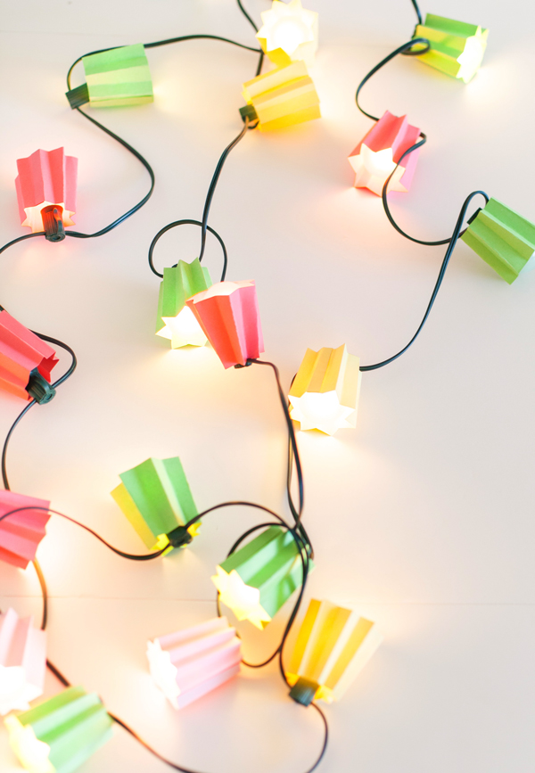 DIY Ideas With String Lights - DIY Paper Folded Light Strand Tutorial - Easy, Fun, Cool Decor To Make With String Lights - Cheap Room Decor Ideas for Teens, Fun Apartment Lighting Projects and Creative Ways to Decorate Your Bedroom - How To Decorate Teens and Teenagers Bedrooms #teencrafts #diyideas #stringlights