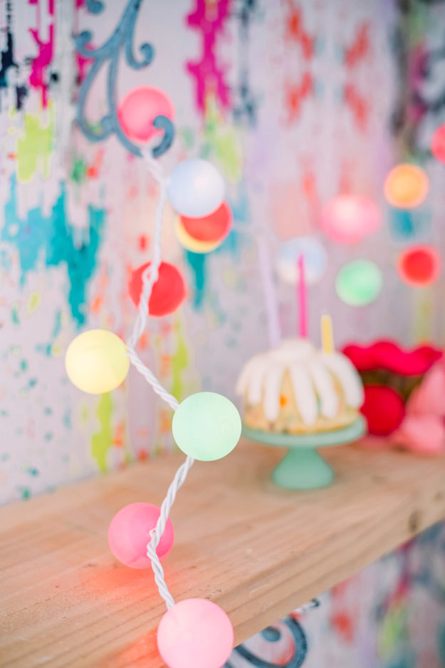 DIY Ideas With String Lights - DIY Ping Pong Ball String Lights Tutorial - Fun String Light Ideas - Easy, Fun, Cool Decor To Make With String Lights - Cheap Room Decor Ideas for Teens, Fun Apartment Lighting Projects and Creative Ways to Decorate Your Bedroom - How To Decorate Teens and Teenagers Bedrooms #teencrafts #diyideas #stringlights