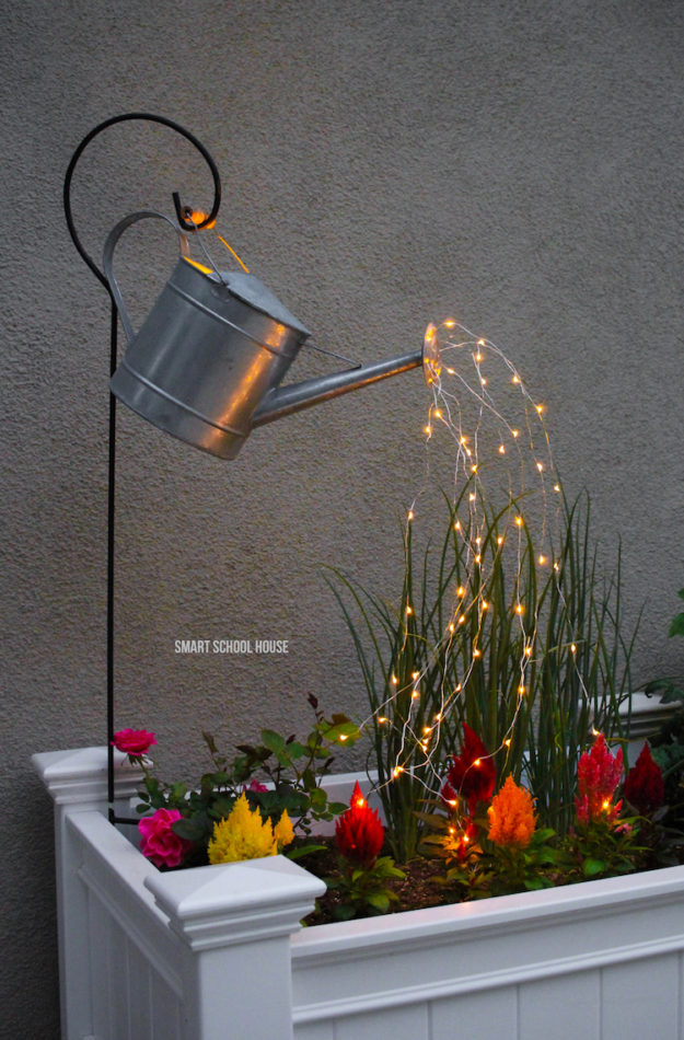 DIY Ideas With String Lights - DIY String Light Watering Can Tutorial - Fun String Light Ideas - Easy, Fun, Cool Decor To Make With String Lights - Cheap Room Decor Ideas for Teens, Fun Apartment Lighting Projects and Creative Ways to Decorate Your Bedroom - How To Decorate Teens and Teenagers Bedrooms #teencrafts #diyideas #stringlights