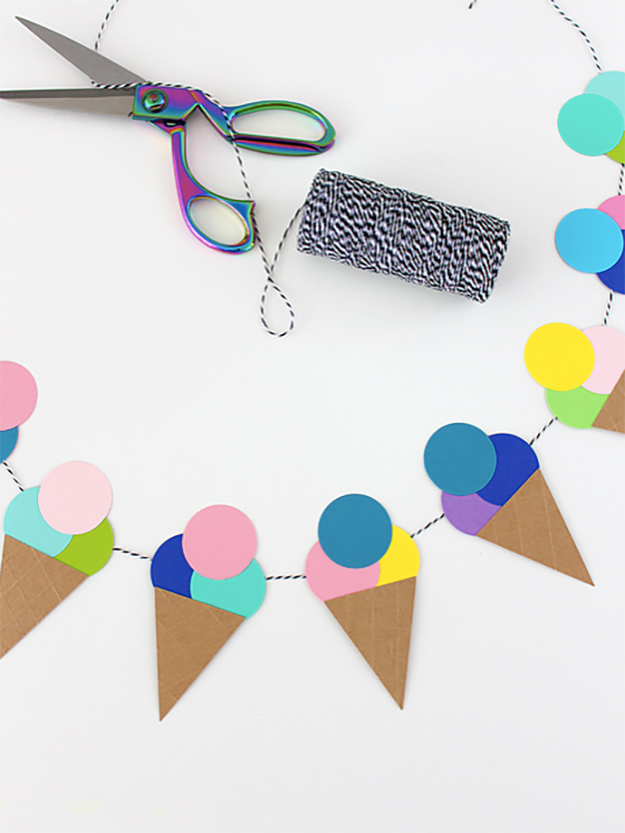 Cheap Crafts - DIY Ice Cream Garland Tutorial - How to Make An Ice Cream Garland - Inexpensive Craft Project Ideas for Teenagers, Teens and Adults - Easy DIY Ideas To Make On A Budget - Cool Dollar Store Crafts and Things You Can Make For Free - Homemade Wall Art and Room Decor, Gifts and Presents, Tutorials and Step by Step Instructions #teencrafts #cheapcrafts #diyideas