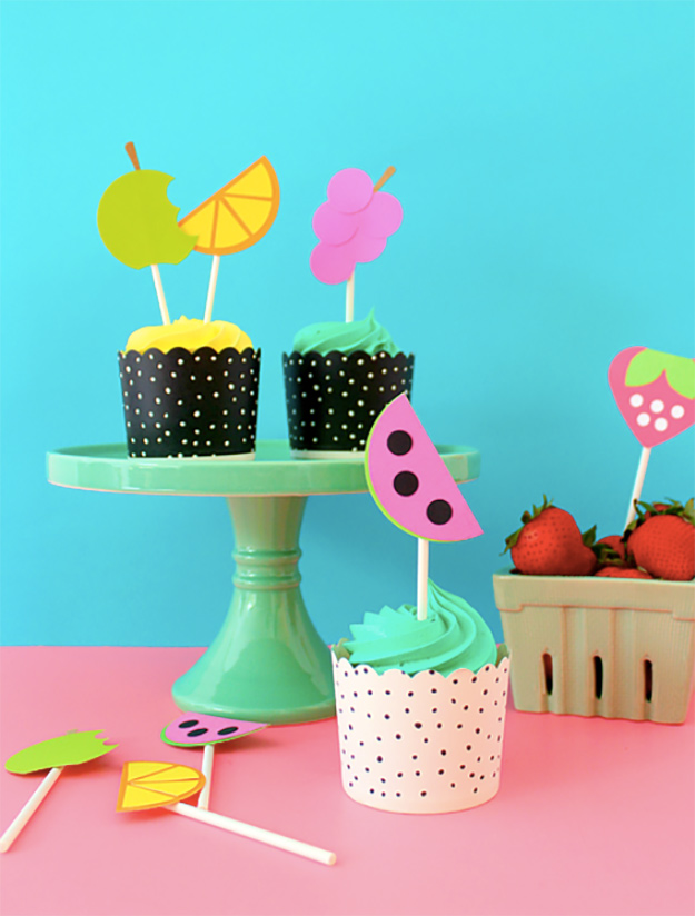 Cheap Crafts - DIY Fruit Cupcake Toppers Tutorial - How to Make Cupcake Toppers - Inexpensive Craft Project Ideas for Teenagers, Teens and Adults - Easy DIY Ideas To Make On A Budget - Cool Dollar Store Crafts and Things You Can Make For Free - Homemade Wall Art and Room Decor, Gifts and Presents, Tutorials and Step by Step Instructions #teencrafts #cheapcrafts #diyideas