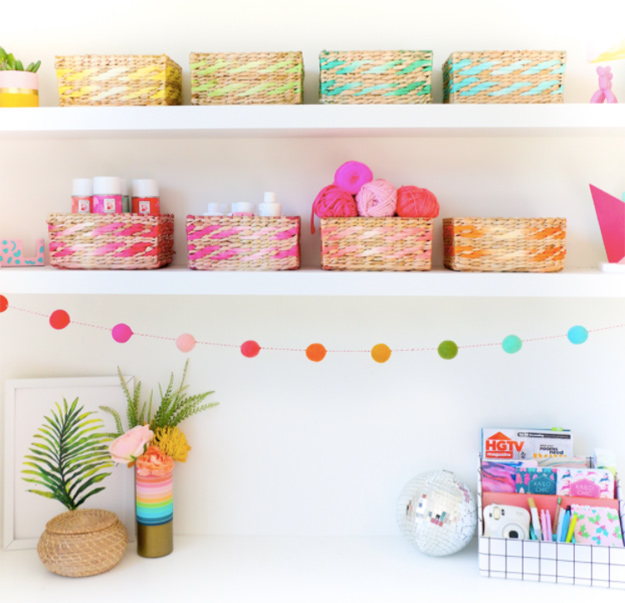 Cheap Crafts - DIY Dip Dyed Storage Basket Tutorial - How to Make Dip Dyed Storage Baskets - Inexpensive Craft Project Ideas for Teenagers, Teens and Adults - Easy DIY Ideas To Make On A Budget - Cool Dollar Store Crafts and Things You Can Make For Free - Homemade Wall Art and Room Decor, Gifts and Presents, Tutorials and Step by Step Instructions #teencrafts #cheapcrafts #diyideas