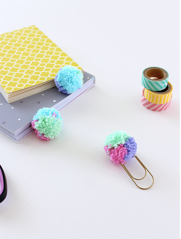 Cheap Crafts - DIY Pastel Pom Pom Paper Clips Tutorial - How to Make Pom Pom Paper Clips - Inexpensive Craft Project Ideas for Teenagers, Teens and Adults - Easy DIY Ideas To Make On A Budget - Cool Dollar Store Crafts and Things You Can Make For Free - Homemade Wall Art and Room Decor, Gifts and Presents, Tutorials and Step by Step Instructions #teencrafts #cheapcrafts #diyideas