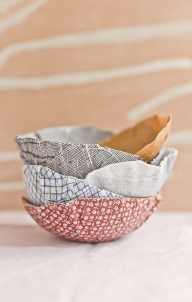 Cheap Crafts - DIY Fabric Paper Mache Bowl Tutorial - How to Make Paper Mache Bowls - Inexpensive Craft Project Ideas for Teenagers, Teens and Adults - Easy DIY Ideas To Make On A Budget - Cool Dollar Store Crafts and Things You Can Make For Free - Homemade Wall Art and Room Decor, Gifts and Presents, Tutorials and Step by Step Instructions #teencrafts #cheapcrafts #diyideas