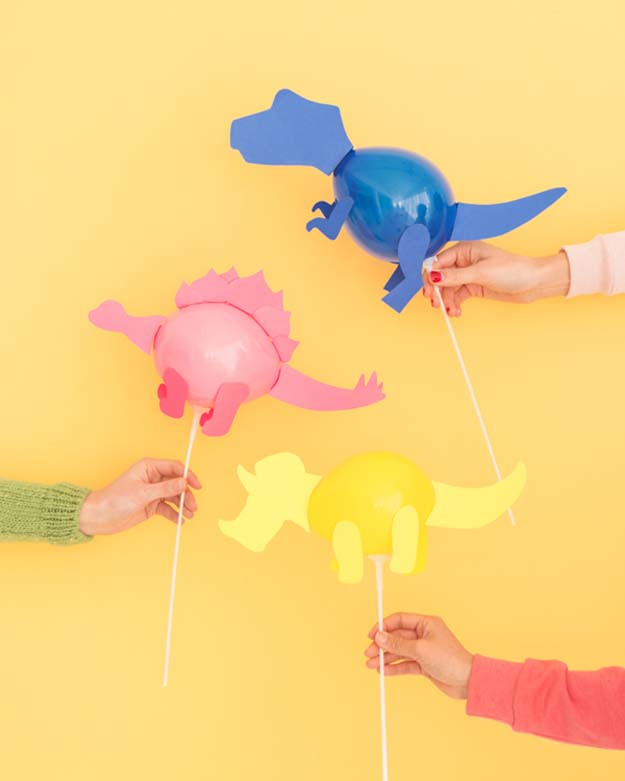 Cheap Crafts - DIY Mini Dinosaur Balloon Stick Tutorial - How to Make Balloon Sticks - Kids Party DIY Decorations - Inexpensive Craft Project Ideas for Teenagers, Teens and Adults - Easy DIY Ideas To Make On A Budget - Cool Dollar Store Crafts and Things You Can Make For Free - Homemade Wall Art and Room Decor, Gifts and Presents, Tutorials and Step by Step Instructions #teencrafts #cheapcrafts #diyideas