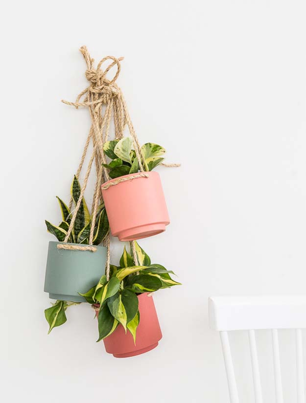 Cheap Crafts - DIY Hanging Planter Tutorial - How to Make A Hanging Planter - Cheap DIY Hanging Planter Tutorial - Inexpensive Craft Project Ideas for Teenagers, Teens and Adults - Easy DIY Ideas To Make On A Budget - Cool Dollar Store Crafts and Things You Can Make For Free - Homemade Wall Art and Room Decor, Gifts and Presents, Tutorials and Step by Step Instructions #teencrafts #cheapcrafts #diyideas
